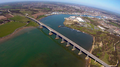 Perfect rowing conditions under the Orwell bridge, at Ipswich Rowing Club.